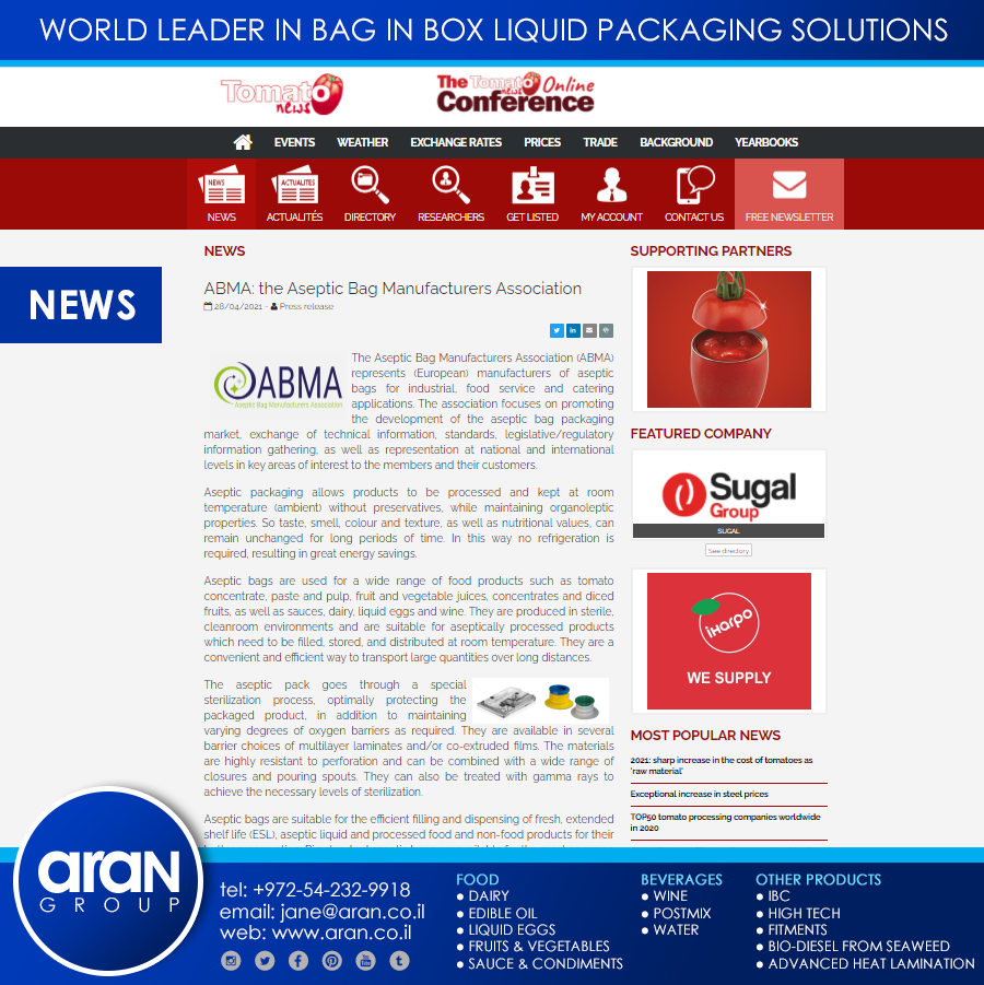 ABMA: The Aseptic Bag Manufacturers Association
